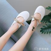 豆豆鞋女新款夏季百搭韓版娃娃鞋子森女繫奶奶鞋平底芭蕾單鞋     麥吉良品