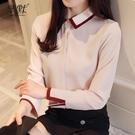 (促銷全場九折)韓版女春裝襯衫女長袖17秋冬新款韓版翻領職業雪紡白襯衣上衣