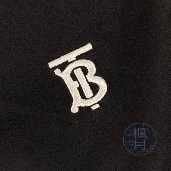 BRAND楓月 BURBERRY 白TB LOGO 黑色 V領 T-SHIRT 短袖上衣 男女款