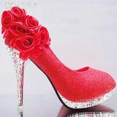婚禮鞋 女鞋花朵婚鞋紅色新娘鞋韓版細跟淺口高跟百搭舞蹈鞋「七色堇」
