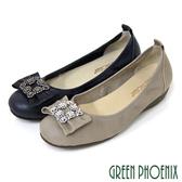 U33-2A206 女款全真皮娃娃鞋 寬版蝴蝶結花邊水鑽油臘牛皮小坡跟娃娃鞋【GREEN PHOENIX】