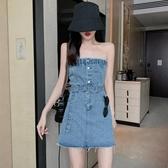 2020夏季新款露肩抹胸裙子收腰系帶短裙性感牛仔裙氣質連衣裙女裝 伊羅 新品