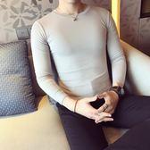 韓版 新品男士長袖t恤休閑簡約打底衫青年百搭圓領小衫時尚韓版修身T恤 韓先生