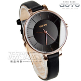 GOTO 個性簡約時尚腕錶 玫瑰金電鍍x黑 真皮錶帶 GL1040L-43-341 時間玩家