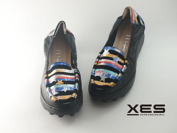 XES 星星横條彩圖懶人鞋 優質時尚 女款 藍色