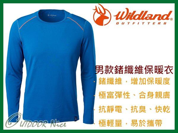 ╭OUTDOOR NICE╮荒野WILDLAND 男款輕量鍺纖維親膚保暖衣 0A62668 土耳其藍 排汗衣 衛生衣 運動上衣