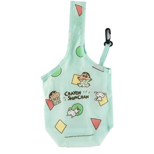 小禮堂 蠟筆小新 環保尼龍水壺袋 環保杯袋 飲料杯袋 (綠 睡衣) 4710588-01099