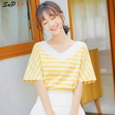 拼色半袖恤女領黃色短袖百搭條紋學生寬鬆上衣潮