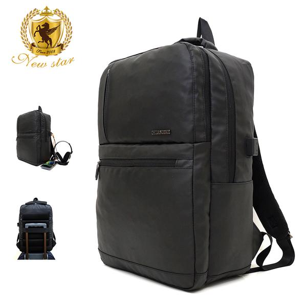 簡約防水雙層充電後背包包筆電包 電腦包 可掛行李箱 NEW STAR BK277