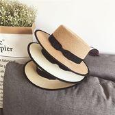 平頂草帽女夏天英倫沙灘帽防曬百搭包邊禮帽
