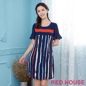 【RED HOUSE 蕾赫斯】撞色直條紋洋裝(藍色)