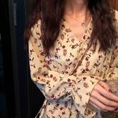 連身裙 2019新款女裝春裝氣質維多利亞復古法式超仙碎花連衣裙過膝長裙女【星時代女王】