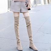 膝上靴 2021秋冬網紅新款內增高彈力靴女粗跟顯瘦過膝長靴平底長筒瘦瘦靴【八折搶購】