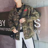 牛仔外套 個性百搭迷彩牛仔外套上衣韓版潮流帥氣學生bf風夾克