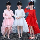 圓鎖女童禮服 主持人公主裙亮片2018款走秀拖尾蓬蓬紗裙白 BF11453【旅行者】