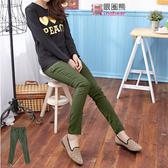 長褲--顯瘦翹臀拉鍊造型設計窄管長褲(綠M-6L)-P78眼圈熊中大尺碼