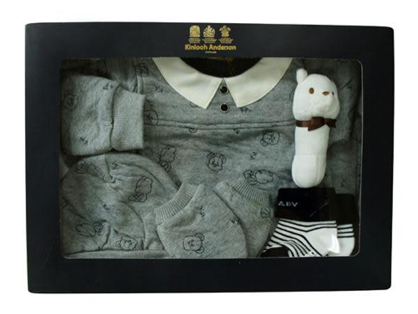 【金安德森】新生兒五件組禮盒-秋冬提花小熊(共二色)
