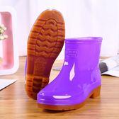 雨鞋 雨鞋雨靴膠靴防水鞋女廚房洗車短筒平底膠鞋套鞋成人韓版防滑 果果輕時尚