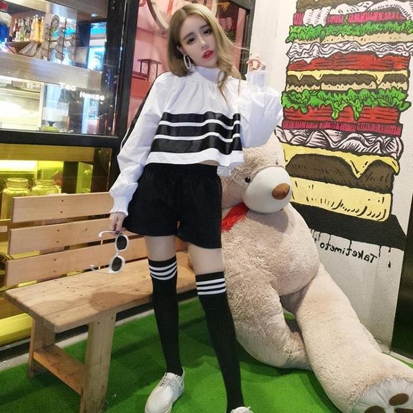 2018夏季新款韓版長袖拼色立領寬鬆上衣 高腰皮短褲套裝 過膝長襪