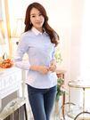 修身顯瘦OL襯衫 韓版工作服(藍衣白領)wcps61