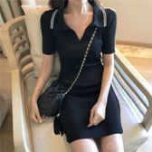 春裝新款POLO短袖連身裙女氣質百搭修身顯瘦簡約針織裙潮