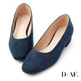 D+AF 好感春氛.素面絨料方頭低跟鞋*深藍