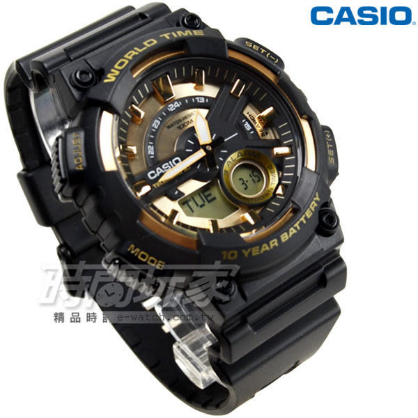 CASIO卡西歐AEQ-110BW-9A 10年電力 橡膠錶帶 電子錶 黑金色 AEQ-110BW-9AVDF 雙顯示 世界時間 鬧鈴 男錶