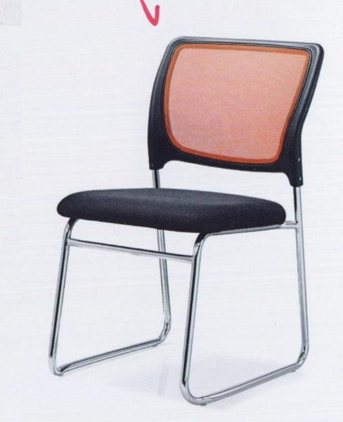 【 IS空間美學】洽談橙色黑網椅