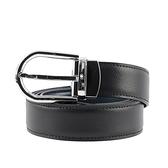 【MONT BLANC】馬蹄型亮面鍍鈀針式搭扣雙面可用皮帶(黑色/藍色) 128756