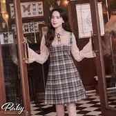 洋裝 格紋蕾絲拼接長袖洋裝-Ruby s 露比午茶