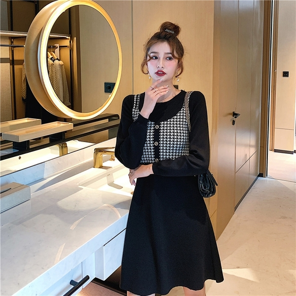 出清388 韓國風復古千鳥格提花假兩件針織長袖洋裝