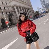 VK精品服飾 韓系釘珠高腰拼色短褲套裝常袖褲裝