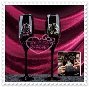 ♥小花花日本精品♥Hello Kitty 對杯玻璃杯高腳杯香檳杯大臉圖金色粉色送禮首選黑色 11283706