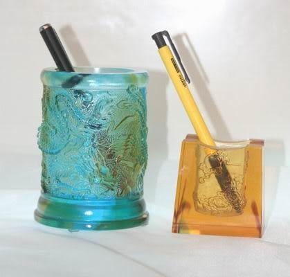 琉璃精品 辦公用品擺件 書房擺件 開業禮品 龍鳳筆筒 創意 時尚