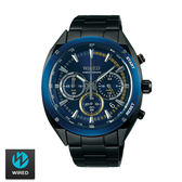 WIRED  SEIKO副牌 帥氣藍框黑藍三眼黑鋼男錶 44mm AY8024X1 VK63-KMB0SD | 名人鐘錶高雄門市