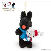 〔小禮堂〕Hello Kitty x 麗莎與卡斯柏 絨毛玩偶吊飾《黑.坐姿.抱kitty》邂逅巴黎系列 4901610-20367