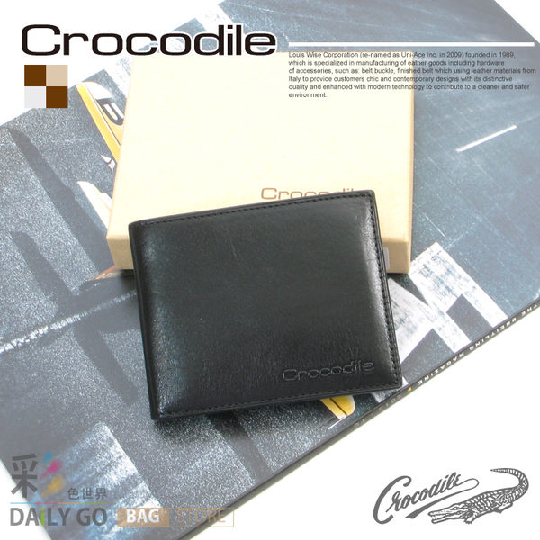 Crocodile鱷魚皮夾真皮短夾男夾皮包-中翻可拆0103-58041黑