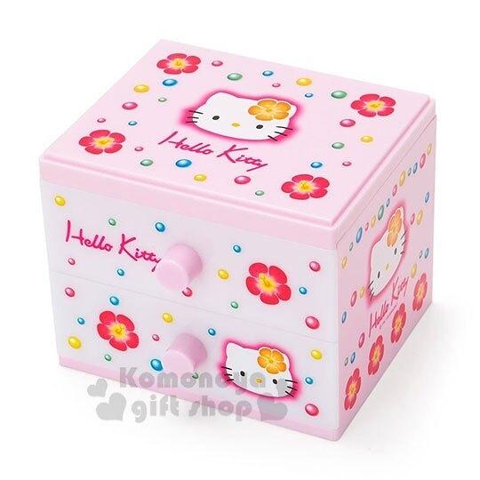 〔小禮堂〕Hello Kitty 桌上型塑膠雙抽收納盒《粉白》置物盒.抽屜盒.45週年紀念系列 4901610-20667
