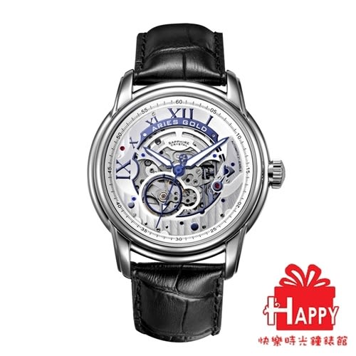 ARIES GOLD 雅力士 EL TORO 自動上鍊縷空機械錶-銀X黑 G 9005 RG-S