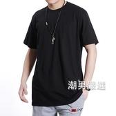 大尺碼T恤100-150公斤純黑色大尺碼T恤男240-280斤棉質加肥加大尺碼短袖T恤