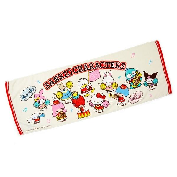 小禮堂 Sanrio大集合 純棉割絨浴巾 身體毛巾 運動毛巾 40x110cm (米 應援啦啦隊) 4550337-64613