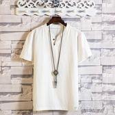 大碼上衣中國風夏季薄款亞麻短袖t桖男士寬鬆大碼半袖體桖潮流棉麻 貝兒鞋櫃