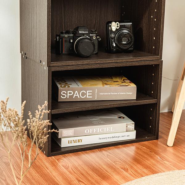 樂嫚妮 堆疊 2入組 單格櫃 空櫃 二層 收納櫃-深胡桃木色