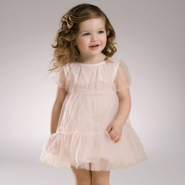 DaveBella 淡粉紗質公主袖洋裝 DB3546