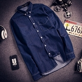 牛仔襯衫-歐美學院風時尚簡約流行男長袖單寧上衣71ae9【巴黎精品】