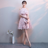 粉色伴娘服2019新款夏季掛脖短款顯瘦名媛洋裝宴會派對小禮服裙女Mandyc