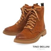 Tino Bellini率性牛皮擦色況味綁帶短靴_棕 A79052