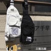 韓國原宿風街頭日系百搭工裝斜跨包帆布包胸包腰包學生男女潮『艾麗花園』