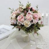婚紗影樓攝影拍照道具新娘手捧花結婚新款粉紅白仿真韓式牡丹花束 晴天時尚館