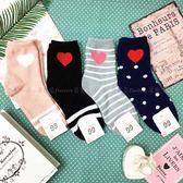 【KP】韓國 22-26cm 珊瑚絨 愛心 條紋 點點 粉 黑 灰 藍 成人襪 直版襪 襪子 DTT100007744